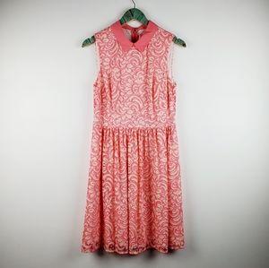 Betsey Johnson Pink Lace Midi Dress Sz 8 EUC